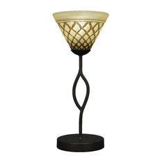 "Revo 16"" 1-Light Mini Table Lamp Dark Granite Chocolate Icing Glass"