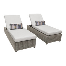 Coast Wheeled Chaise Set of 2 Outdoor Wicker Patio Furniture in Ash