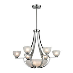 Sculptive 9-Light Chandelier, Polished Chrome and Frosted Glass