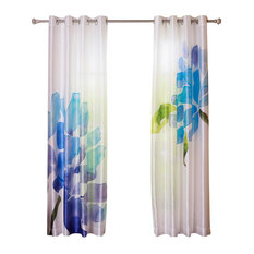 Best Home Fashion   Faux Silk Flower Printed Watercolor Grommet Curtain  Panels, Pair, Blue