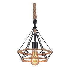 """Raekor Industrial Natural Hemp Rope Hanging Pendant Light, 10"""" Hexagonal"""