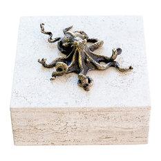 Bronze Octopus Travertine Box