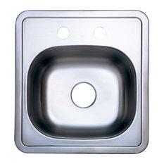 Gourmetier Studio Self-Rimming Single Bowl Bar Sink, Brushed Nickel