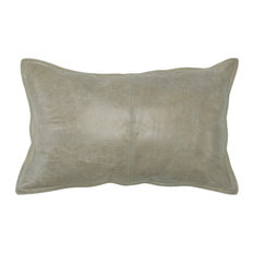 "Cheyenne 100% Leather 14""x26"" Throw Pillow by Kosas Home, Sandy Beige"