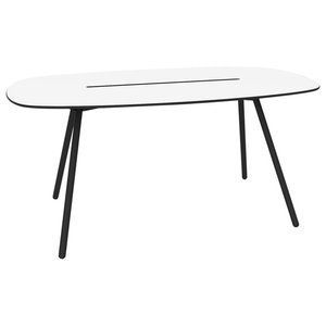 Small A-Lowha Long Board Table, White, Black Frame