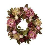 24 in. Peony and Hydrangea Wreath