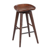 Contoured Seat Wooden Frame Swivel Barstool with Angled Legs, Dark Brown