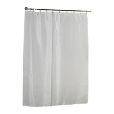 Carnation Home Fashions Standard-Sized Polyester Fabric Shower Curtain, White