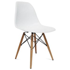 fe6f09947ed Molded Plastic Side Chair Wood Leg Base White Shell By Lemoderno ...