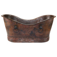 """67"""" Hammered Copper Double Slipper Bathtub With Rings"""