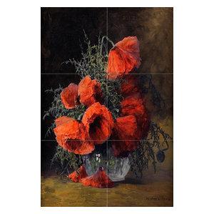 "Tile Mural Flowers Red Poppies Kitchen Backsplash, 4"" Marble"