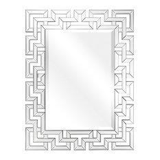 "Beveled Antique Mirror Panels, 0.75"" Beveled Center, 40""x 31"" Wall Mirror"