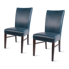 Milton Bonded Leather Chairs, Set of 2, Vintage Blue