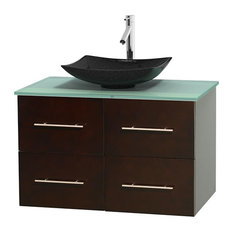 36 in. Single Bathroom Vanity in Espresso, Green Glass Countertop, Arista Black