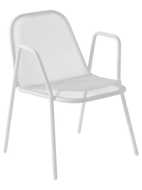 Golf Stol Med Armstöd, Vit - Udendørs spisebordsstole