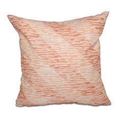 "Marled Knit Stripe, Geometric Print Pillow, Coral, 18""x18"""