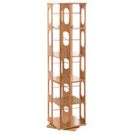 Clevr - Bamboo Wood 5-Shelving Bookshelf, Revolving Bookcase Organizer Cabinet Rack, 57. - This beautiful bookcase is the perfect marriage between form and function, maximizing storage space and adding the an elegant touch to any room. It's constructed from 100% sustainable, eco-friendly, natural bamboo. The convenient 360&#176 rotating function allows you to reach that perfect book with ease and maximizes shelf space.