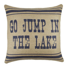 """Go Jump in the Lake"" Burlap Pillow, Navy"