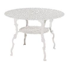 Antique Victorian Cast Aluminum Patio Dining Table, White Heart