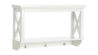 RiverRidge Home X- Frame Collection, Wall Shelf with Hooks, White
