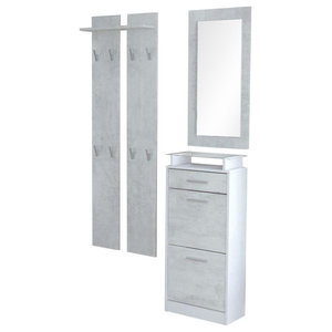 Modern Furniture Wardrobe Set, MDF With Shoe Cabinet Wardrobe Panel and Mirror