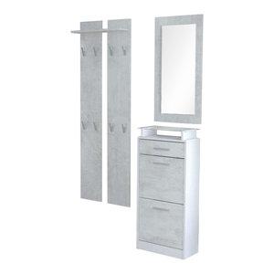 Modern Furniture Wardrobe Set, MDF With Shoe Cabinet Wardrobe Panel and Mirror,