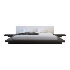 Modloft Worth Bed King Wenge White Leather Platform Beds