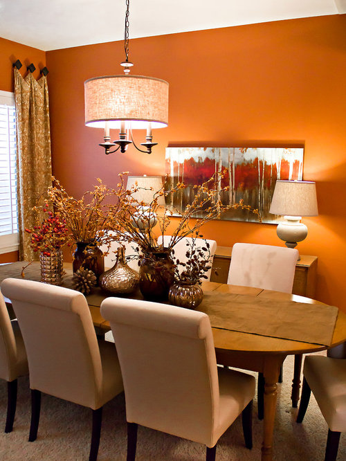 Orange Dining Room Design Ideas Renovations Photos With Carpet