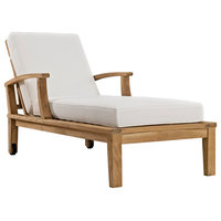 Marina Outdoor Premium Grade A Teak Wood Single Chaise, Natural/White