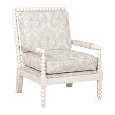 Wood and Foam and Fabric Chair, Cream