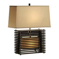 NOVA Of California   Kimura Table Lamp With Tan Linen Shade, Matte Black  And Brushed