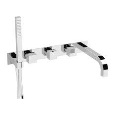 Isenberg 160.2691 - Wall Mount Bathtub Filler With Hand Shower, Polished Nickel