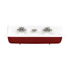 "NEW 48"" Red Wall Mount Cast Iron Porcelain High Back Trough Sink, Chrome Accents"