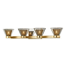 "Wink 28"" LED Bath Wall Sconce, Gold Leaf, Clear Glass"