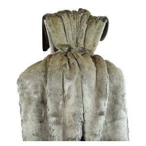 "Plutus Tissavel Gray Faux Fur Handmade Bedspread, 80""x110"""