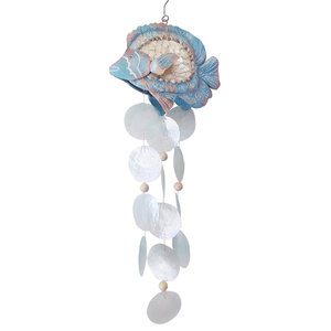 Tropical fish wind chime hanging from Sun with 3 inch blue glass float