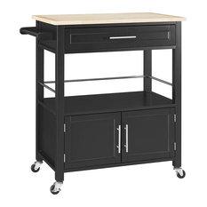 Ktichen Island Cart Storage Drawer And Lower Cabinet 4 Casters Black