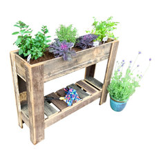 Reclaimed Wood Homespun Rustic Handmade Plant Stand Flower Bed, Natural