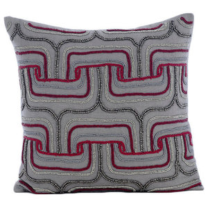 Beaded Maze 35x35 Cotton Linen Gray Decorative Cushions Cover, Tranquility