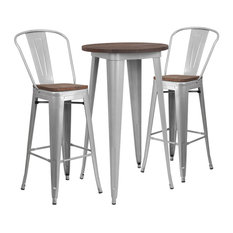 Metal And Wood Table Set In Silver Finish CH-WD-TBCH-8-GG