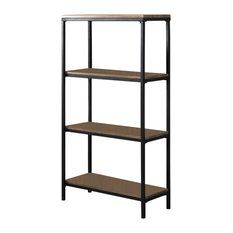 Gray Wood Black Metal Frame 4 Tier Shelf Storage Home Office Bookcase