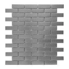 SomerTile Meta Stainless Steel Over Porcelain Mosaic Wall Tile, Subway Metal