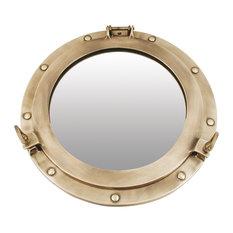 Porthole Door Mirror, 40 cm, Antique Brass Finish