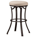 Hillsdale - Indoor/Outdoor Bryce Backless Swivel Stool, Counter Height - Simple and elegant, the Bryce Backless Indoor/Outdoor Stool extends traditional style and comfort to your kitchen or patio for indoor or outdoor entertaining. Boasting a heavy-duty steel frame, a rich Midnight Mocha powder coated finish for extra durability and protection against harsh UV rays, a 360-degree swivel mechanism, weather resistant Sunbrella Cast Ash performance fabric, and a reticulated quick dry foam seat, these durable and attractive stools are ideal for your indoor and outdoor spaces. Available in bar and counter heights, some assembly required.