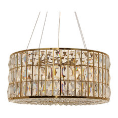 The Monroe Round Clear Crystal Chandelier, Brass Finish
