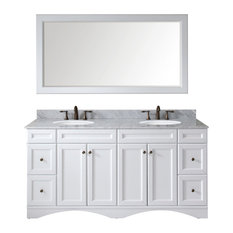 Talisa 72-inch Double Bathroom Vanity White Marble Top Round SinkFaucet Mirror