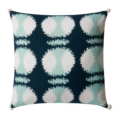 Loloi Cotton Pillow Cover, Teal and White, 22  x22