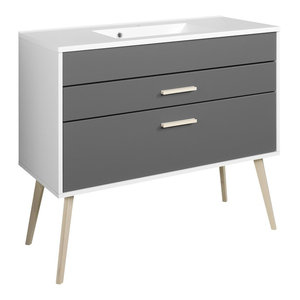 Oslo Bathroom Vanity Unit, Matte Grey and Graphite Grey, 80 cm