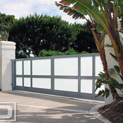 Modern Style Driveway Gate With Automatic Motors Built in Steel & Frosted Glass!