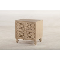 """29"""" T Night Stand Artisan Hand Carved Front Panel Drawers Sustainable Mango Wood"""